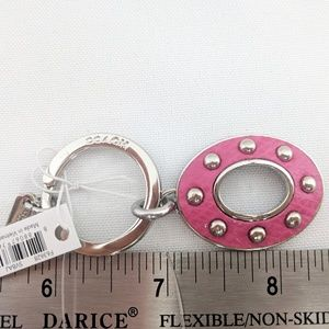 Coach Accessories - Coach NWT KeyChain Silver Turnlock with Pink